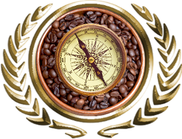 A compass set atop a bowl of roasted coffee beans.